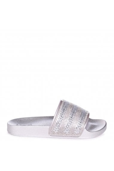GARBO - Silver Slip On Slider With Diamante Embellished Front Strap