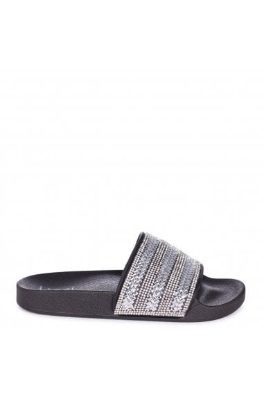 GARBO - Black Slip On Slider With Diamante Embellished Front Strap