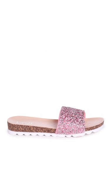 ELISA - Pink Slip On Slider With Heavy Diamante Embellishment & Cleated Sole