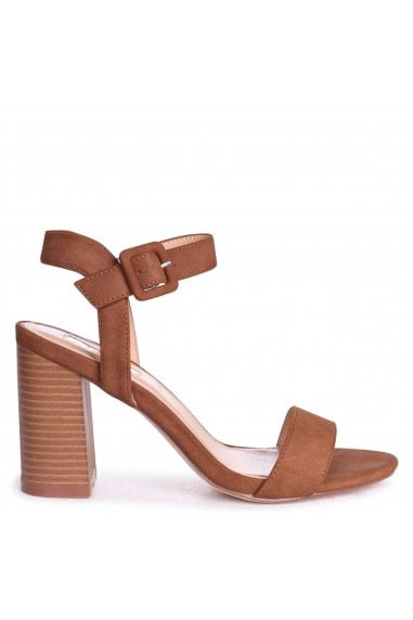 Kate Tan Suede Open Toe Stacked Block Heels With Ankle Straps