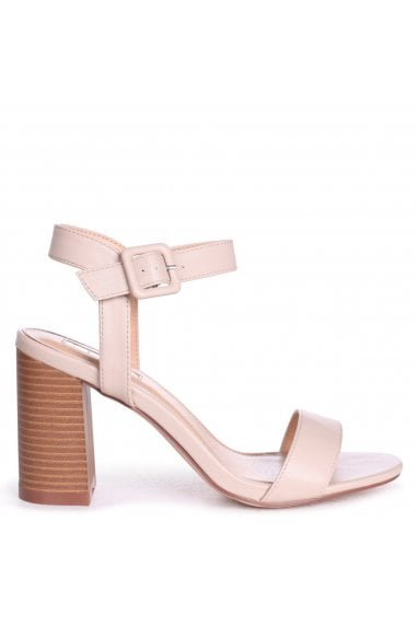 KATE - Beige Nappa Open Toe Stacked Block Heel With Ankle Strap