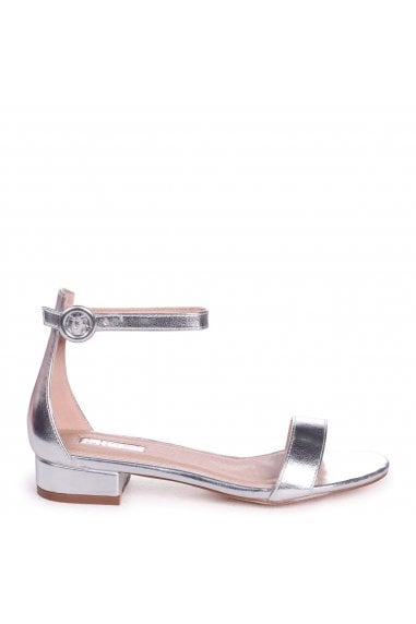 MONIQUE - Silver Nappa Barely There Block Heeled Sandal