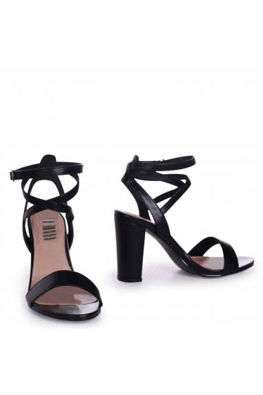 Danni Black Nappa Block Heeled Sandals With Cross Over Ankle Strap