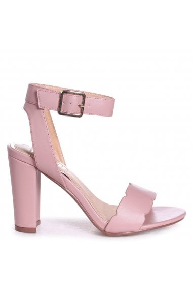 Darla Pink Nappa Open Toe Block Heels With Ankle Strap Wavey Front Strap Detail