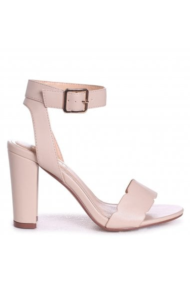 DARLA - Beige Nappa Open Toe Block Heel With Ankle Strap Wavey Front Strap Detail