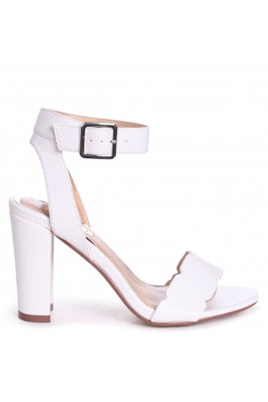 Darla White Nappa Open Toe Block Heels With Ankle Strap Wavey Front Strap Detail