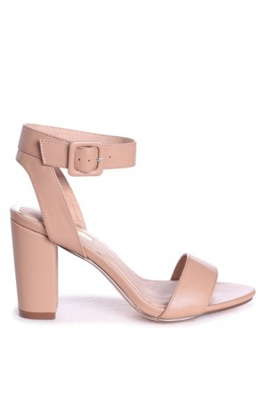 MILLIE - Mocha Nappa Open Toe Block Heel With Ankle Strap And Buckle Detail