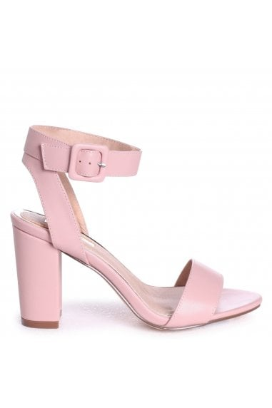 MILLIE - Dusky Pink Open Toe Block Heel With Ankle Strap And Buckle Detail