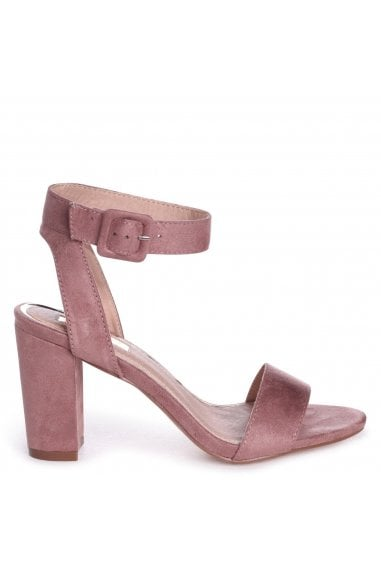 MILLIE - Dusky Pink Suede Open Toe Block Heel With Ankle Strap And Buckle Detail