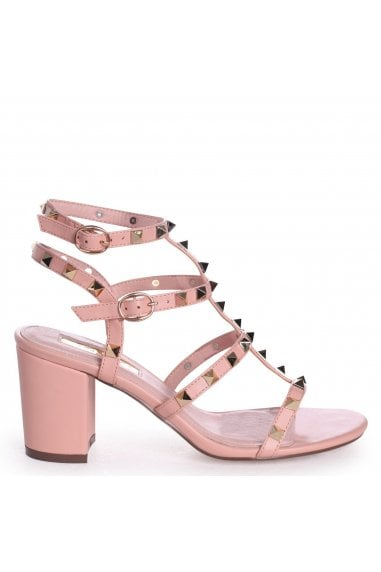 TESSA - Peach Studded Block Heeled Sandal