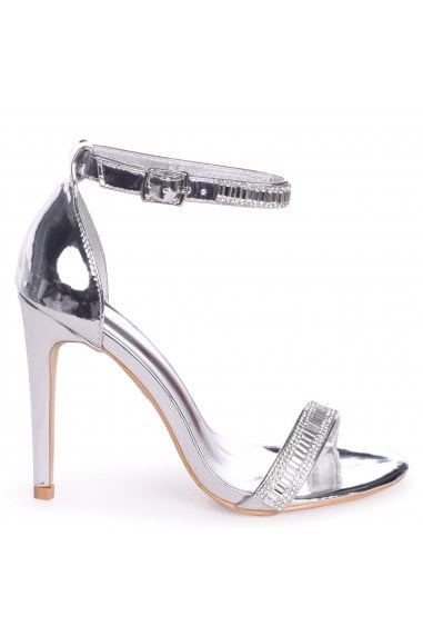 ANITA - Silver Stiletto Heel With Diamante Front & Ankle Strap