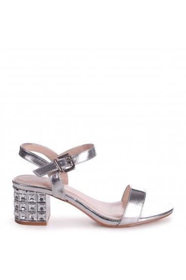 MISTY - Silver Metallic Mid Heel with Diamante Block Heel