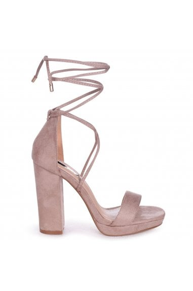 SUMMER - Beige Suede Lace Up Platform Block Heel