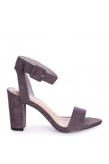 MILLIE - Grey Suede Open Toe Block Heel With Ankle Strap And Buckle Detail