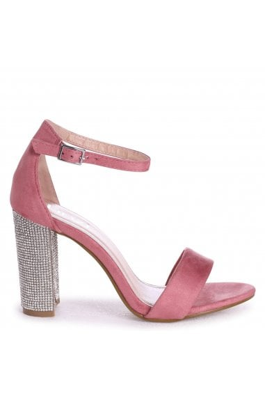 KENSEY - Dusky Pink Suede Barely There With Diamante Heel