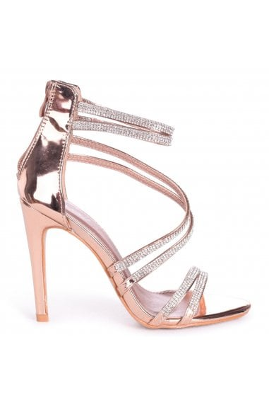 JODIE - Rose Gold Diamante Strappy Stiletto Heel