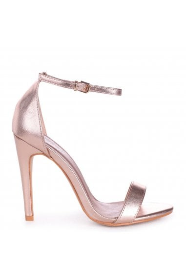 GRACE - Rose Gold Single Sole Barely There Heeled Sandal