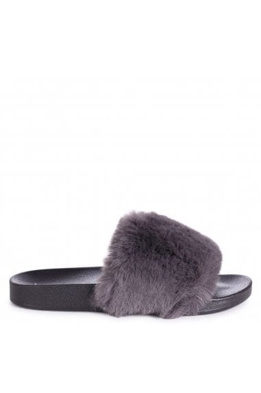 KENDALL - Grey Faux Fur Sliders