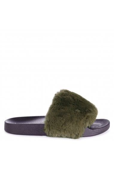 KENDALL - Khaki Faux Fur Sliders