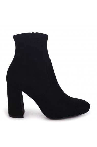 BRIANNA - Stretch Black Suede Heeled Ankle Boot