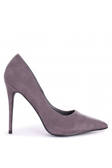 ASTON - Grey Suede Classic Pointed Court Heel