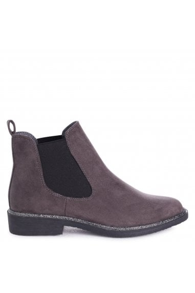 VALENCIA - Grey Suede Classic Chelsea Boot With Glitter Trim