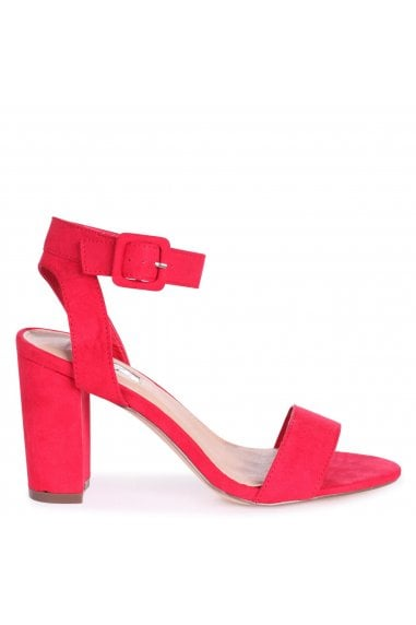 MILLIE - Red Suede Open Toe Block Heel With Ankle Strap And Buckle Detail