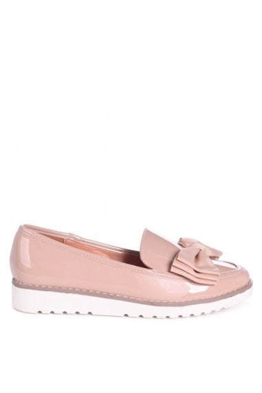 KATY - Mocha Patent Classic Slip On Loafer With Fabric Bow Detail