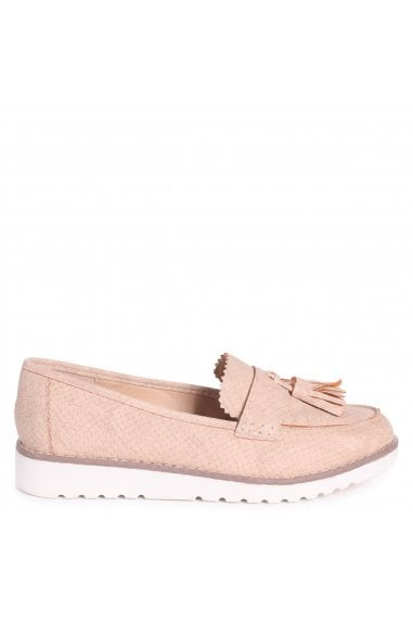 VICKY - Nude Snake Classic Slip On Loafer With Tassel Detail
