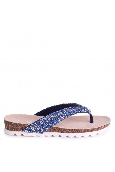 JANA - Blue Diamante Toe Post Sandal With Cleated Sole