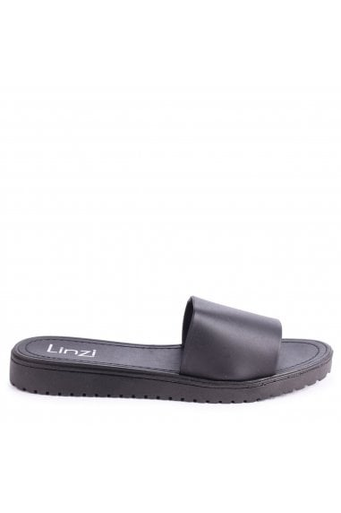 JADE - Black Slip On Jelly Sliders