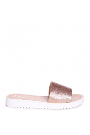 JACEY - Rose Gold Glitter Slip On Jelly Slider