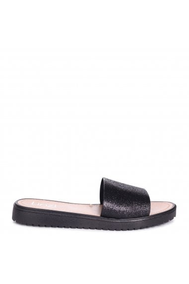 JACEY - Black Glitter Slip On Jelly Slider