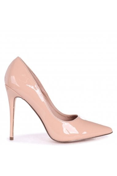 ASTON - Nude Patent Classic Pointed Court Heel