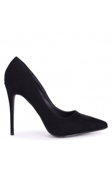 ASTON - Black Suede Classic Pointed Court Heel