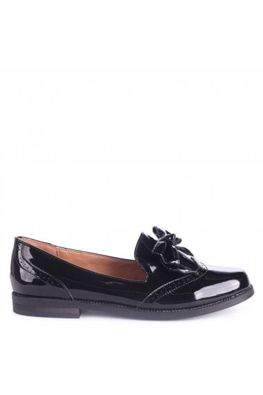 CAREY - All Black Patent Classic Loafer with Bow Detail