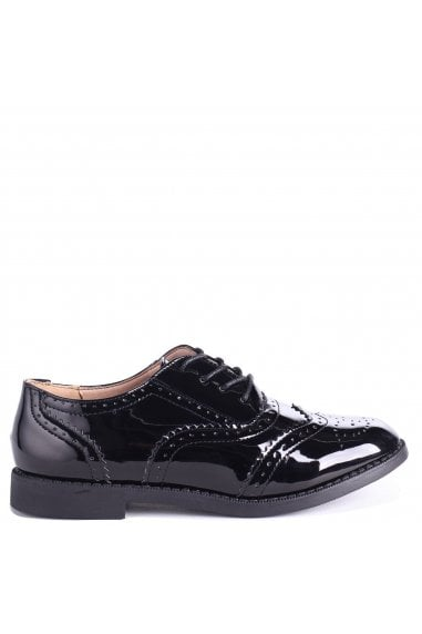 AYLA - Black Patent Classic Lace Up Brogue