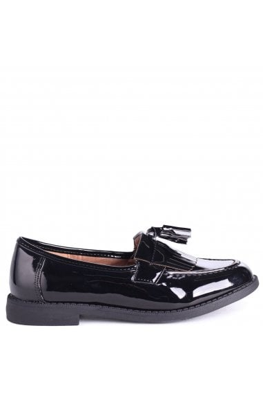 TILLY - Black Patent Classic Tassel & Fringed Loafer