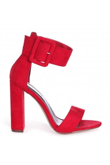 Tia Red Suede Open Toe Block Heels With Large Buckle Detail