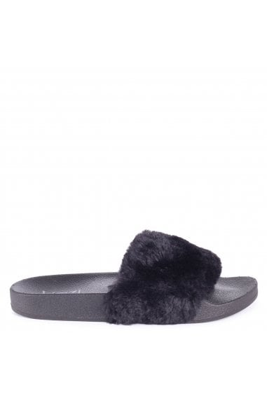 Fleur Black Faux Fur Sliders
