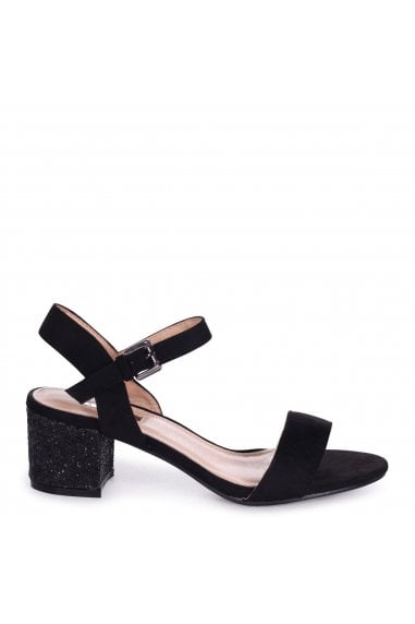 Guilty Black Suede Single Sole Block Heeled Sandals with Heavy Glitter Heel