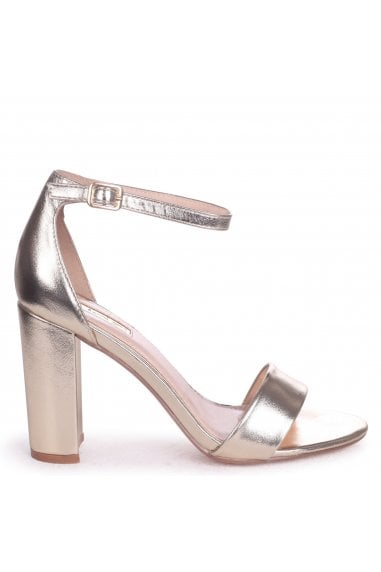 Nelly Gold Metallic Single Sole Block Heels