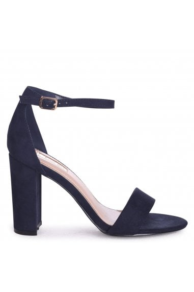 Nelly Navy Suede Single Sole Block Heels