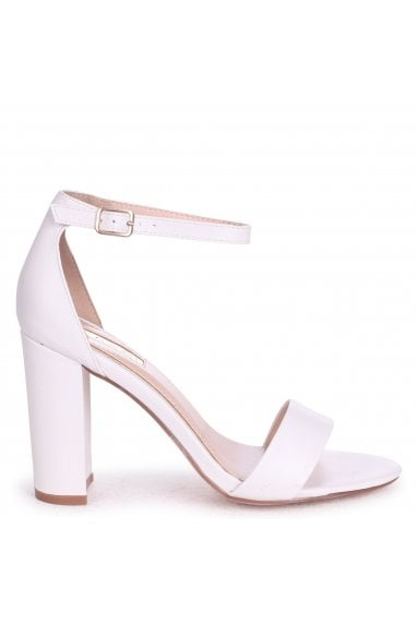 Nelly White Nappa Single Sole Block Heels