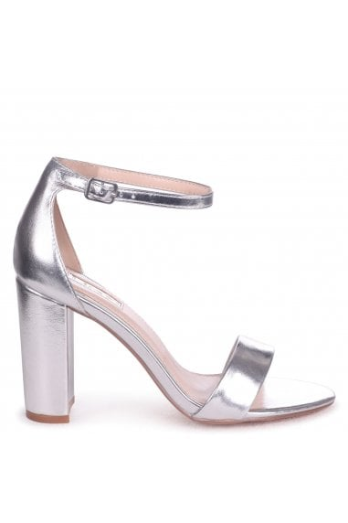 Nelly Silver Metallic Single Sole Block Heels