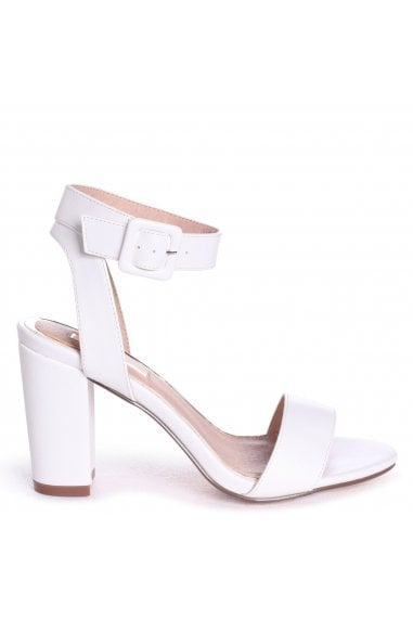 Millie White Nappa Open Toe Block Heels With Ankle Strap And Buckle Detail