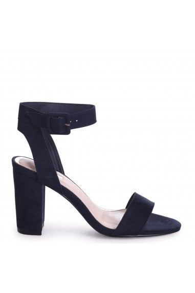 Millie Navy Suede Open Toe Block Heels With Ankle Strap And Buckle Detail