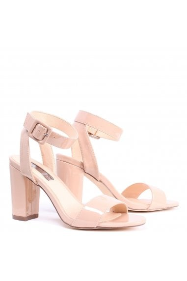 Millie Mocha Patent Open Toe Block Heels With Ankle Strap And Buckle Detail