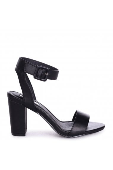 Millie Black Nappa Open Toe Block Heels With Ankle Strap And Buckle Detail