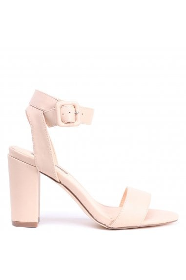 Millie Nude Nappa Open Toe Block Heels With Ankle Strap And Buckle Detail
